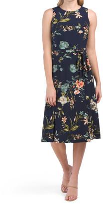 Flora Summer Solstice Print Dress With Tie Belt