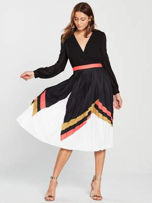 Little Mistress Geo Print Belted Pleated Skirt Midi Dress