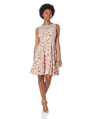 Gabby Skye Women's Petite Floral Print Dress W. Crochet Lace Illusion
