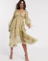 Asos Design DESIGN metallic jacquard blouson midi dress with lace and ruffle trim detail