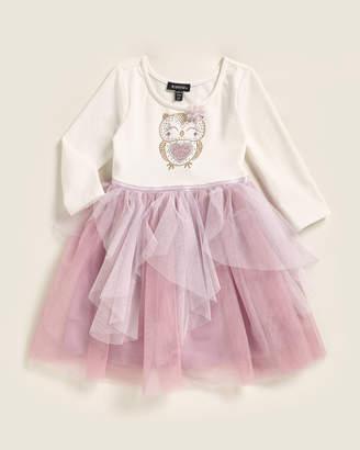 Zunie Toddler Girls) Studded Owl Handkerchief Hem Dress