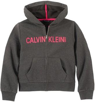 Calvin Klein Girl's Front-Zip Logo Hoodie