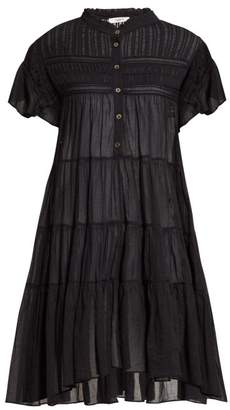 Etoile Isabel Marant Lanikaye Tiered Cotton Voile Mini Dress - Womens - Black