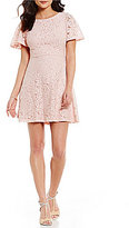 Jessica Howard Petite Flutter-Sleeve Fit-and-Flare Dress
