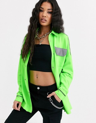 Criminal Damage oversized shirt with reflective pockets-Green