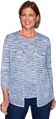 Alfred Dunner Petite Space-Dye Lurex Mock-Layer Sweater