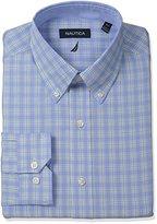 Nautica Men's Check Shirt with Button Down Collar with White Stripe