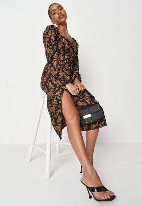 Missguided Navy Floral Print Milkmaid Midi Dress