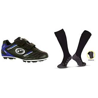 Optimum Boys Tribal Moulded Stud Football Boots, Black (Black/Blue), Child (43 EU) with Men's Classico Sports Socks, Black, Junior (3-6)