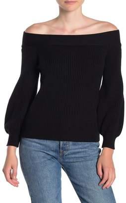 Dress Forum Off-the-Shoulder Rib Knit Shirt