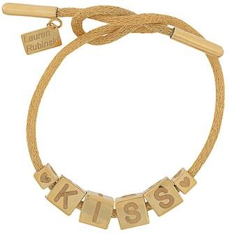 LAUREN RUBINSKI 14kt yellow gold Kiss charm bracelet
