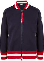 Moncler Ribbed Knit-trimmed Cotton-neoprene Bomber Jacket - Navy