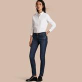 Burberry Check Detail Stretch Cotton Shirt