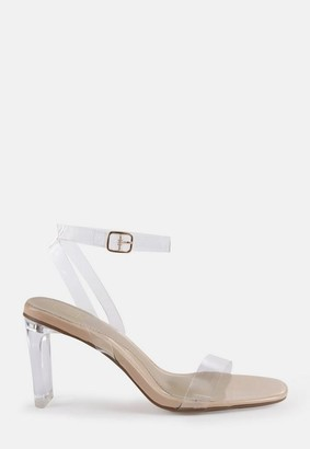 Missguided Nude Clear Perspex Mid Illusion Heel Sandals