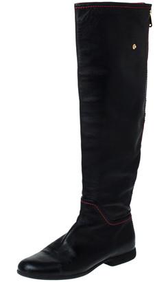 Loriblu Black Leather Knee Length Boots Size 40