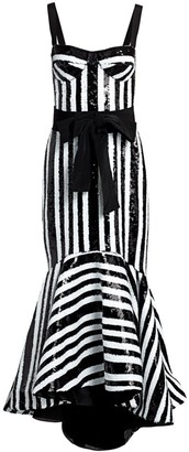 Silvia Tcherassi Gerda Sequin Striped Bustier Mermaid Gown