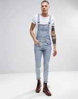 Dr Denim Ira Skinny Dungaree Jeans In Blue Stone Light Wash