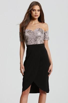 Little Mistress Black and Mink Bardot Embellished Dress