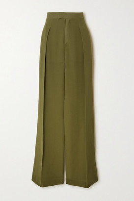 Chloé Pleated Silk-georgette Wide-leg Pants - Green