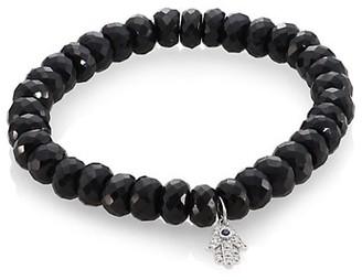 Sydney Evan Black Spinel, Diamond, Sapphire & 14K White Gold Rondelle Hamsa Bracelet