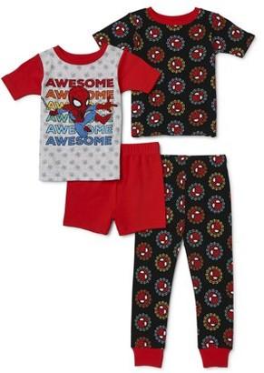 Spiderman Toddler Boys Snug Fit Cotton Short Sleeve Pajamas, 4pc Set (2T-5T)