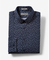 Express fitted small floral print dress shirt