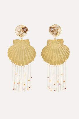 Mercedes Salazar Tropics Gold-tone, Resin, Crystal And Faux Pearl Clip Earrings - one size