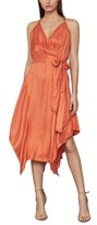 BCBGMAXAZRIA Satin Handkerchief-Hem Midi Dress