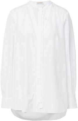 Alexander McQueen Tie-neck Cotton-poplin Blouse