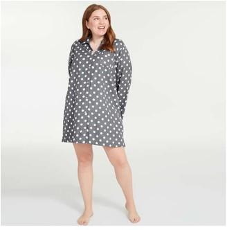 Joe Fresh Women+ Dot Flannel Nightshirt, Slate Grey (Size 1X)