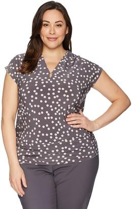 Anne Klein Women's Size Plus Cap Sleeve V-Neck TOP