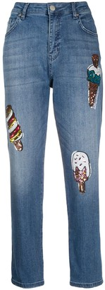 Love Moschino Sequin-Embellished Mom Jeans