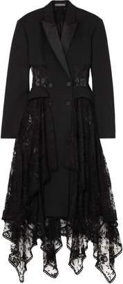 Alexander McQueen Draped Lace-paneled Wool-blend Coat
