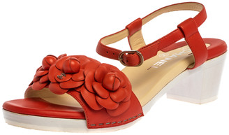 Chanel Orange Leather Camellia Ankle Strap Sandals Size 38