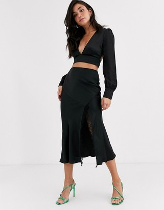 Outrageous Fortune lace insert midi skirt with fluted hem in black