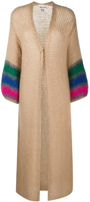 Semi-Couture Striped-Sleeves Maxi Cardigan