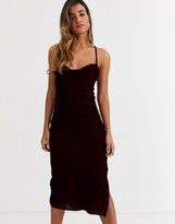 Asos Design DESIGN cami midi slip dress in velvet with lace up back
