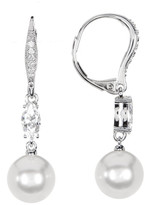 Nadri CZ, Crystal, & Imitation Pearl Drop Earrings