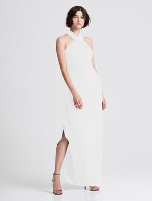 Halston Iconic Cross Neck Crepe Gown