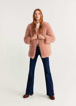 MANGO Faux fur coat pastel pink - XXS - Women