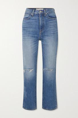 SLVRLAKE London Crop Distressed High-rise Straight-leg Jeans - Mid denim