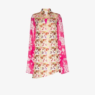 Shuting Qiu Floral Print Scarf Sleeve Mini Dress