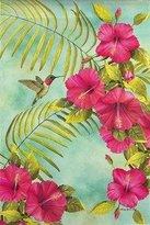 Evergreen Hibiscus and Hummingbird Flag