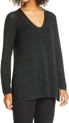 Eileen Fisher V-Neck Organic Cotton Tunic Sweater