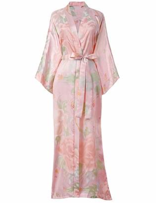 BABEYOND Satin Kimono Robe Dressing Gown Peony Floral Kimono Cardigan for Women Silk Wedding Girl's Bonding Party Pyjamas Long(Pink)
