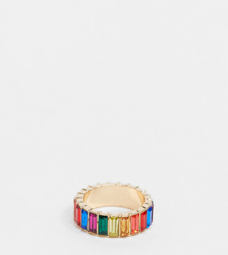 ASOS DESIGN Curve ring with rainbow baguette crystal stones in gold tone