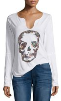 Zadig & Voltaire Long-Sleeve Floral Skull Tee, Blanc