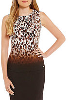 Calvin Klein Petites Ombre Animal Border Print Matte Jersey Pleat Neck Shell