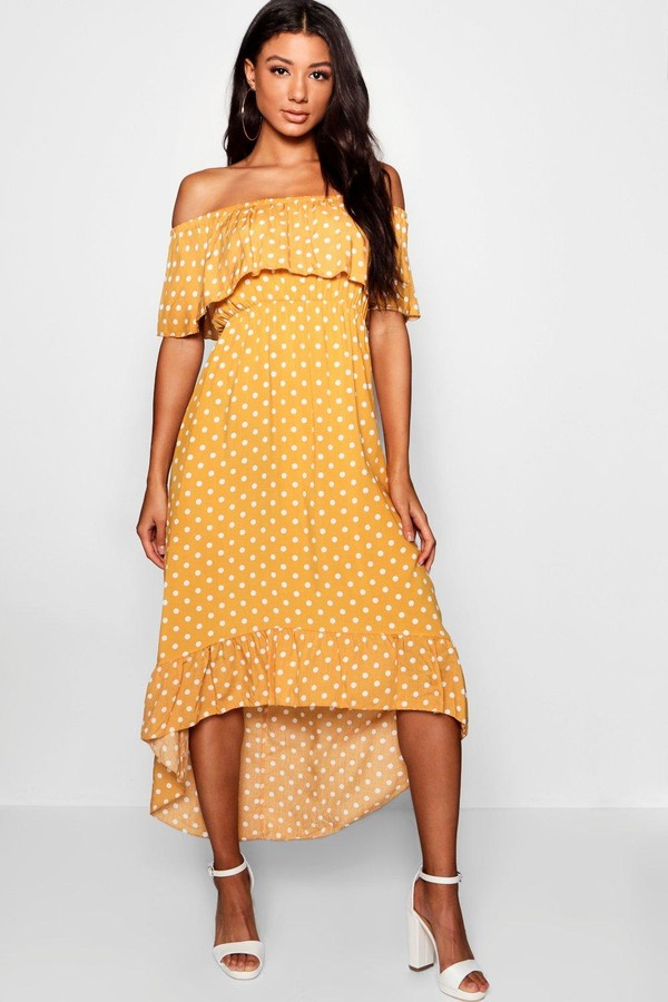 Thumbnail for your product : boohoo Woven Polka Dot Print Off The Shoulder Maxi Dress