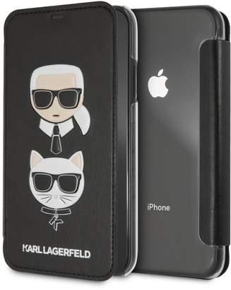 Karl Lagerfeld Paris Black PU Embossed Booktype iPhone XR Case